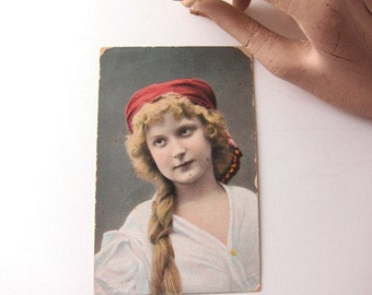 Early 1900's Tinted Postcard of Lovely Lady