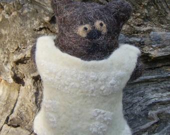Felted art bear. Romantic style wool bear. Eco friendly toy. Malvin