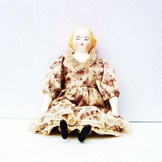 Porcelain Doll, China Doll, Girls Toys, 1930s - Composite Body, Floral Brown Dress