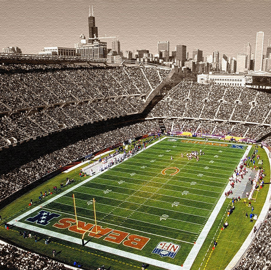 soldier field chicago bears gallery wrapped canvas print. Black Bedroom Furniture Sets. Home Design Ideas