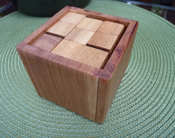 Handcrafted 7 Piece Soma Cube Puzzle in Maple with Alder Box