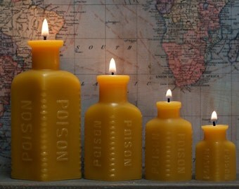 "Beeswax Candle Collection - ""Four Poisons"" w/ FREE Mini - 1800's Glass"