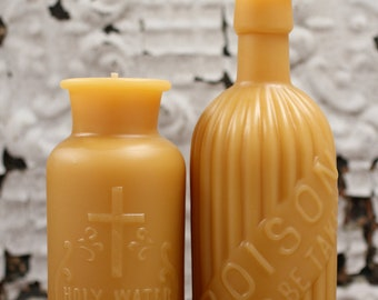 Beeswax Candle Collection - Romeo & Juliet - Poison -and- Holy Water Lg.