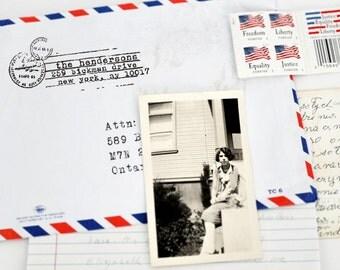 Custom Address Stamp - Personalized Address Stamp - Vintage - Airmail Postal Stamp - DIY Printing - Wood Mounted - Self Inker -  Universal