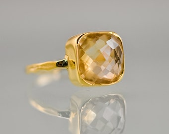 Yellow Citrine Ring Gold - November Birthstone Ring - Solitaire Ring - Stacking Ring - Gold Plated - Cushion Cut Ring