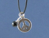 Peace Sign Charm Necklace, Onyx Necklace, Men necklace, women necklace, Boho Chic, Hippie Peace Charm Unique Gift Ideas, Black Rope Necklace