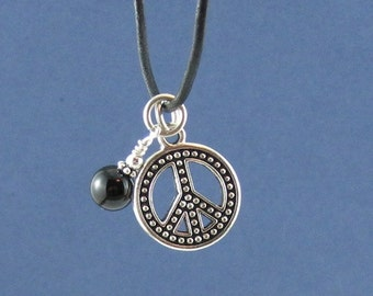 Peace Sign Pendant Chakra Necklace Onyx Stone Retro Birthday Love  Bridesmaids Gift Ideas for Hipster Hippies Boho Daughter Mother Wife Aunt