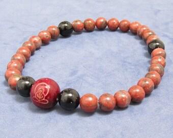 27 Mala Beads Bracelet Men Women Prayer Worry Beads Meditation Beaded Bracelet Buddhist Wood Beads Boho Black Onyx Red Jasper Yoga Grad Gift