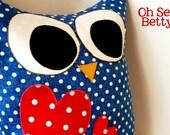 large blue + white polka dot owlie pillow