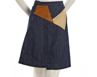 Vintage a-line skirt -- 1960s cowgirl skirt -- blue jean and brown pleather panel wrap skirt -- size girls 7 - 8