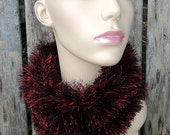 Knit Cowl - Black and Red Fun Fur - Medieval Fire
