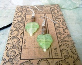 Vintage West Germany Leaf and Unakite Stones Earrings with Glow in the Dark Tips Sterling backings