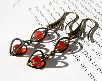 Carnelian Earrings, Caged Brass, Vintage components