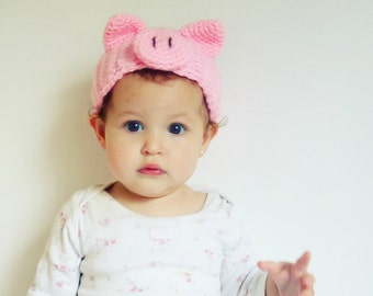 Pig Crochet Pattern Headband  PDF - head wrap animal ears Piggy  - baby/kids/woman/man accessory  5 sizes - Instant DOWNLOAD