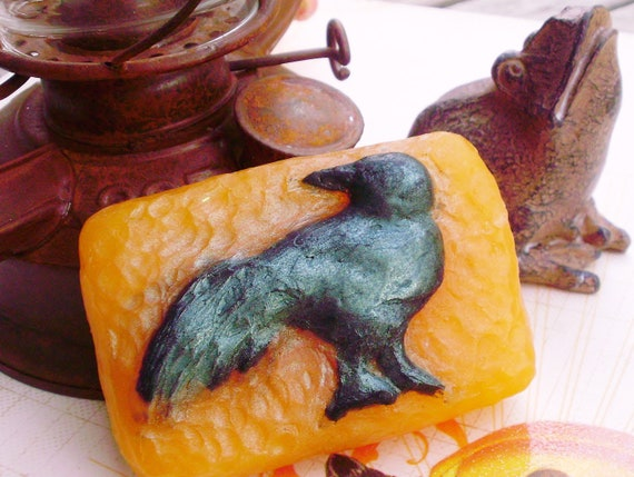 RAVEN BLACKBIRD SOAP, Black Crow Halloween and Fall Raven, Orange & Black, Scented in Earth, Vegan Friendly