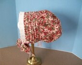 Toddler Bonnet Autumn Floral Cotton Tucked Crown Eyelet Lace--Last One in This Fabric