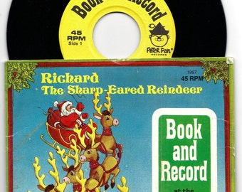 VINTAGE 1997 Richard The Sharp Eared Reindeer Vinyl Record and Book Peter Pan Story Book Records 45 RPM Christmas Santa Sleigh Holiday Gift