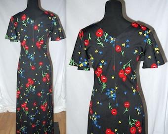 Fleetwood ... vintage 70s maxi dress / 1970s long dress / flutter sleeve / empire waist / marimekko biba style floral / boho ..  S M