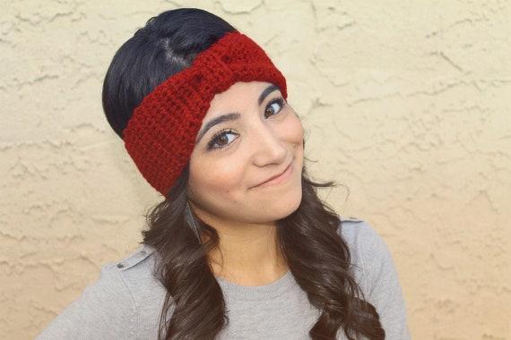 Crochet Red Turban Ear Warmer