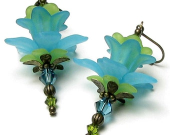 Turquoise Lime Green Lily Flower Swarovski Crystal Antique Brass Lever Back Earrings, Exotic Flower Jewelry, Long Aqua Drop Summer Earrings