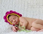 Photo Prop Flower Bonnet, Crochet Pink Petals with Green Leaf Ties, Newborn to 3 Month Size (Item 635) - ThatsTheCutestThing