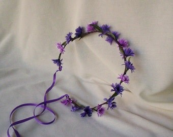 Purple Daisy chain Hippie flower headband hair wreath floral crown concerts music festival bridal headwreath wedding accessories halo