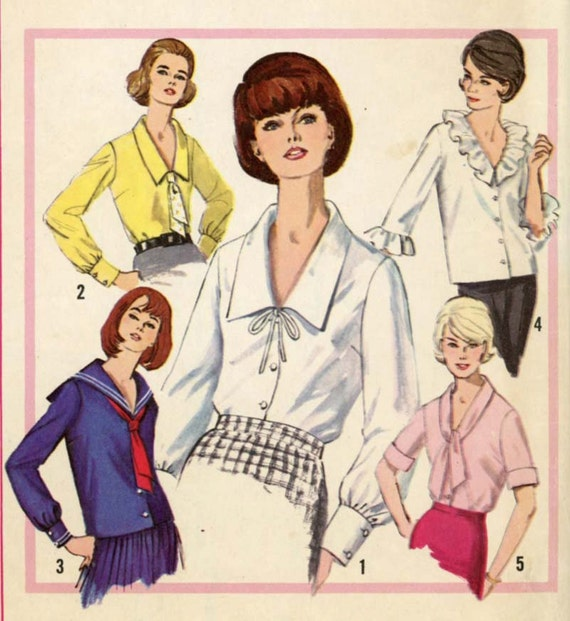 Simplicity 5645 Misses 1960s Blouse Pattern Ruffle Sailor or Shawl Tie Collar with Sleeve Variations Womens Vintage Sewing Pattern Bust 36