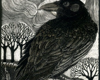 Raven Moon Art Card