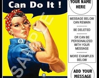Personalized Rosie The Riveter We Can Do It WWII Poster