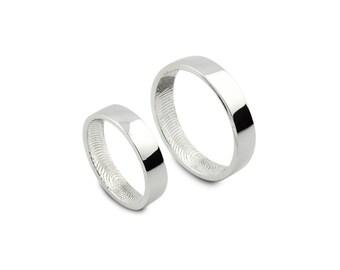 Custom Inner Fingerprint Ring - Sterling Silver Engraving Wedding Band set-non blackened,6mm,4mm