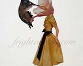 Hummingbird Art, Paper Collage Print, Spring Art, Surreal Collage Art, Bird Art Print, Pollinate