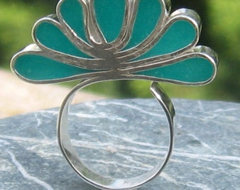 OOAK Adjustable Silver Ring Contemporary design Statement ring, Polymer Ring - Peacock's tail Turquoise-