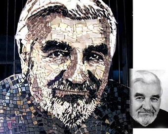 Stained Glass Mosaic Portrait from Photograph to Custom ORDER  Can be Black & White or Color!
