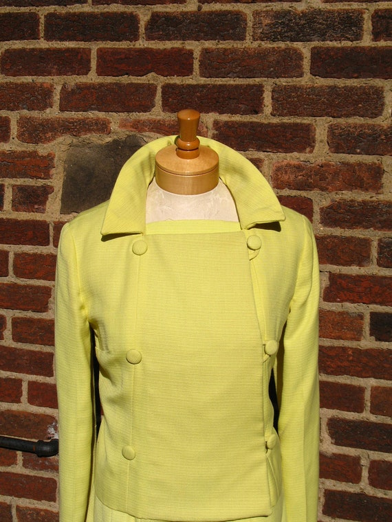Vintage 60s Mad Men / Two Piece / Lemon Yellow /  Wiggle Dress / with Matching Jackie O / Jacket