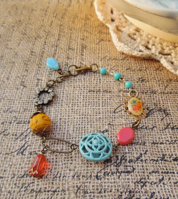 Autumn Spice - Vintage Assemblage Charm Bracelet - Vintage Repurposed Bracelet - Mustard, Coral and Turquoise, Shabby Chic