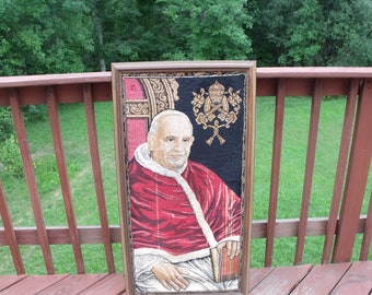 Sale The Blessed Pope John XXIII ,Antique RARE collectible last century rug portrait in frame. Religion. Christianity