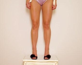 Sheer Silk Chiffon 'Louisa' Babydoll Slip in Lilac & Cream Satin Ribbons with matching brief