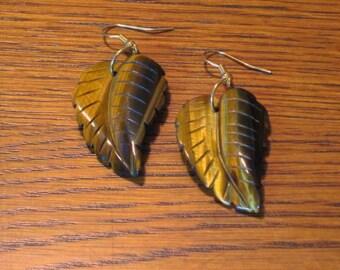 Golden Tiger Eye Leaf Earrings (E1012)