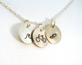 Triathlon Necklace, Swim Bike Run Hand Stamped Necklace