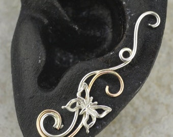 Swirling Victorian Earring Pin with Butterfly  - 14k Gold Filled , Sterling Silver, or Mixed Metals