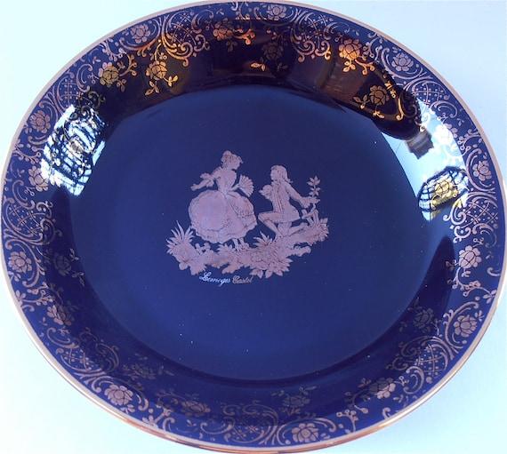 Vintage Limoges Cobalt Plate Blue Castel 22k Gold Round Miniature Plate Ceramic Pottery Porcelain Dish Courting Scene Decorative Plaque