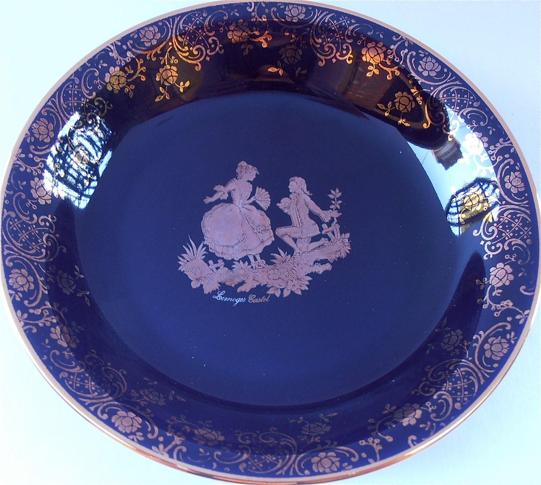 Vintage Limoges Cobalt Plate Blue Castel 22k Gold Round