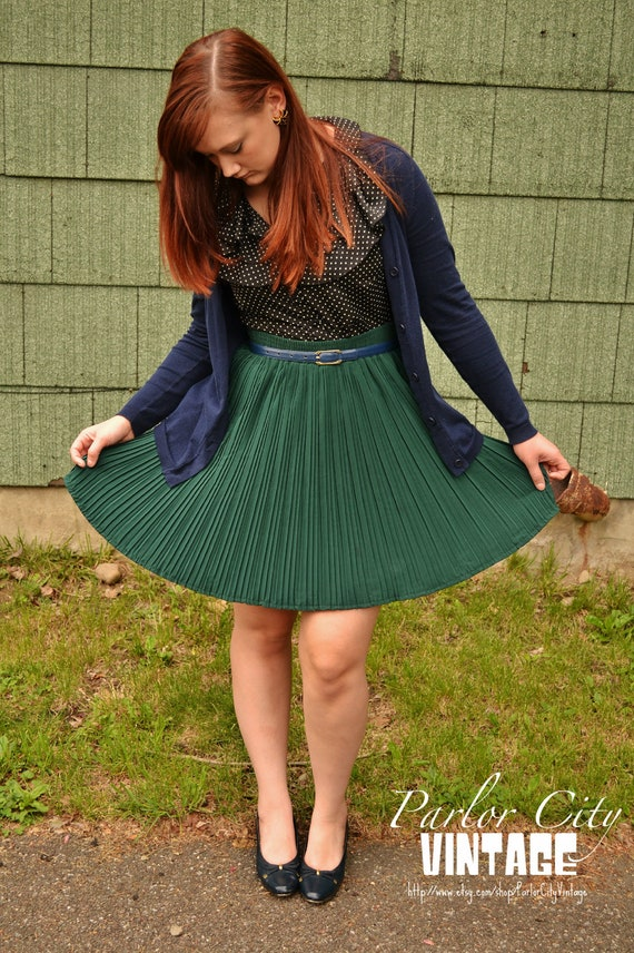 The Gwendolyn Skirt - Classic Dark Green Skirt with Accordion Pleating