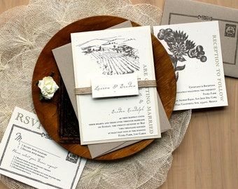 "Rustic Burlap Wedding Invitations - As Seen In The Meryl Streep Move - Rick And The Flash - ""Farm Chic"" Sample"