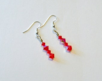 Handmade Earrings Red Swarovski Crystals Wedding Jewellery Bridal Party Jewelry Gift