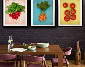 Food Photography, Kitchen Art - Garden Party - fine art photography set of three food pictures in blue,pink,yellow