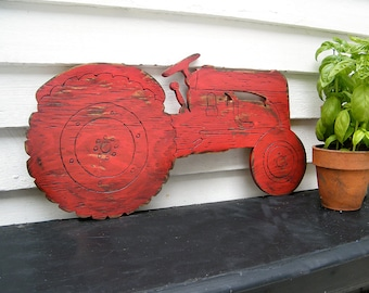 Farm Tractor Sign Boys Room Wall Decor Garden Country Farm sign wall art Barnwood Red