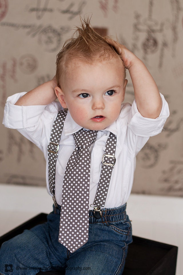 Boys French Dot Suspender Amp Bow Tie Set Gray Grey And