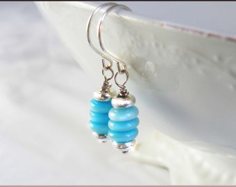 Blue earrings, Cat's Eye Quartz and Sterling Silver Stacked Earrings, Blue Sky, Bride, Something Blue