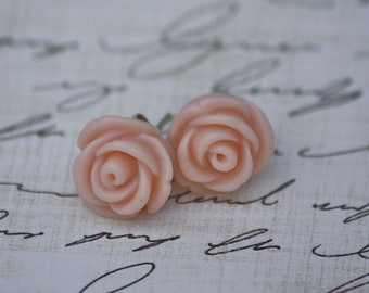 SALE - Mini Vintage Pink Rose Earrings - Available in 8 colors - Blush Bridesmaid Earrings - Rose Blush Earrings